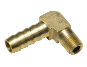 "3/8"" BARBED X 1/8"" NPT 90 DEGREE BRASS FITTING"