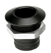 "HOT PRODUCTS 1 1/8"" STRAIGHT BLACK BILGE FITTING"
