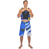 "JETTRIBE ""RIPPED"" MENS BOARD SHORTS-BLUE"