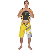 "JETTRIBE ""RIPPED"" MENS BOARD SHORTS-YELLOW"