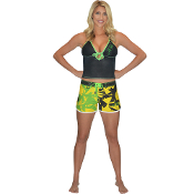 "JETTRIBE ""SHATTERED"" LADIES BOARD SHORTS YELLOW/GREEN"