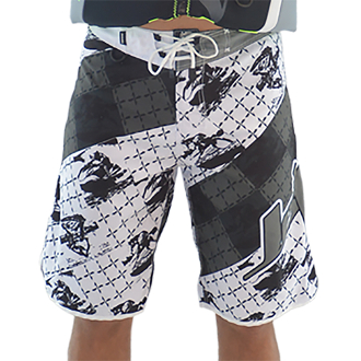 JETTRIBE MEN'S CROSS HATCH SHORTS - WHITE / GREY